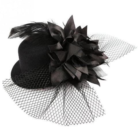 1pcs Hot Fashion Cute Women Lady Flower Hair Clip Burlesque Punk Mini Top Hat Black Alternative Measures