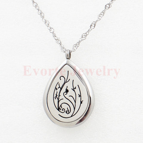 28mm 316L Stainless Steel Silver Magnetic Solid Base Teardrop Floating Locket Perfume Locket Pendant (free felt pads) Alternative Measures
