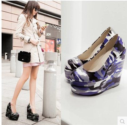15CM 2015 Size 34-43 Women Fashion Camouflage Platform Wedges Shoes Lady Sexy Party Club Pumps  Fn3402