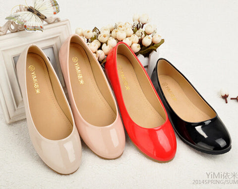 2014 Spring Autumn Round Toe Cow Muscle Outsole Patent Leather Single Shoes For Women Plus Size Black Red Pink Nude Ballet Flats