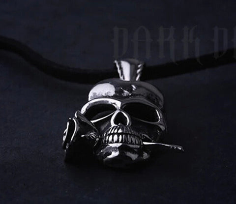 DROPKICKS STOCK ITEM: Gothic Punk Hip-Hop 28 x 20mm Skull & Rose Never Fade 316L Stainless Steel Men's Women's Jewelry Accessories Necklaces & Pendant Alternative Measures