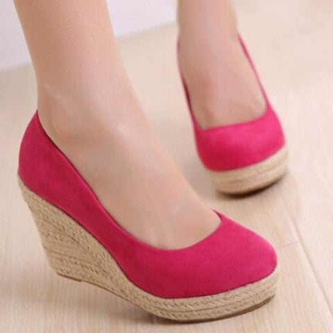 Dress Women Pumps Braid Creepers Thick Soled Suede Leather Wedge Shoes High Heels Big Large Plus Size 41 42 Best Seller 2016