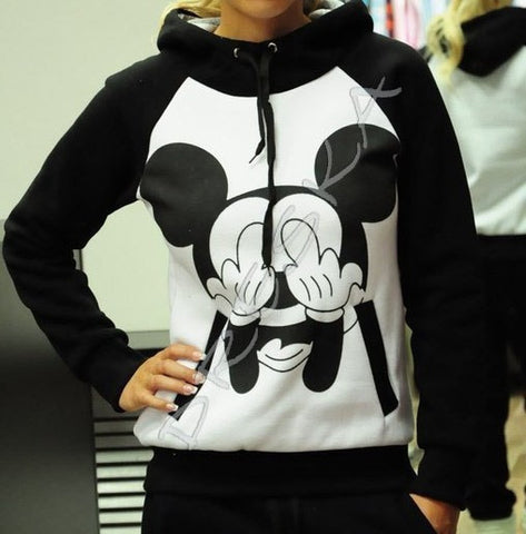 2014 Fashion Hoodies & Sweatshirts Women's Sets Harajuku Character MOUSE MICKEY Printed sport suit black 2pcs