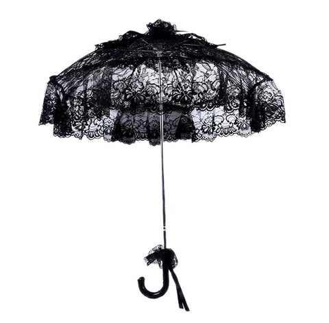 (1 pieces/lot) Solid black color long-handle non-automatic elegant bridal wedding lace umbrella