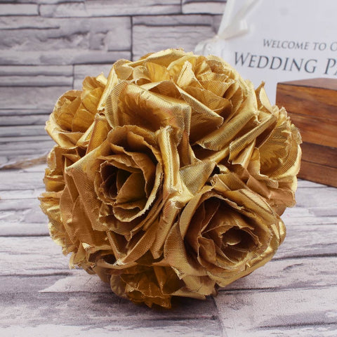 5pcs 13cm Gold Rose Flower Ball Artificial Flowers Hanging Kissing Balls Wedding Decoration Event Party Supplies Hot Sale