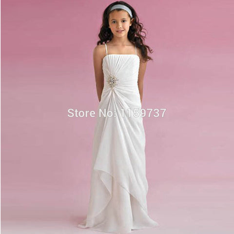 Competitive Price Best Seller Chiffon Spaghetti Straps Empire Beaded Girls' Dress With Pleats Alternative Measures - Brides & Bridesmaids - Wedding, Bridal, Prom, Formal Gown