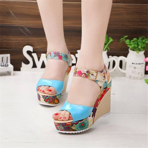 15% OFF 2016 female high-heeled sandals Bohemia style floral wedge sandals Rome women casual shoes