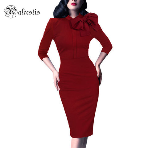 2015 Womens Elegant 1950s Vintage Pinup Retro Rockabilly 3/4 Sleeve Bow Party Work Sheath Bodycon Wiggle Pencil Dress Plus Size