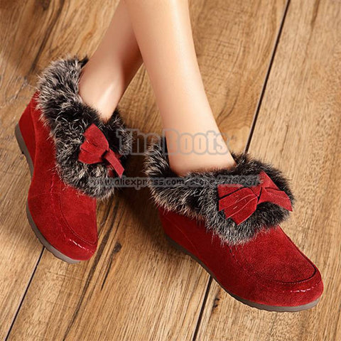 2013 Christmas Sale Black Brown Red Orange Women Genuine Leather Shoes Suede Low Top Rabbit Fur Bow Wedge Booties Ankle Boots