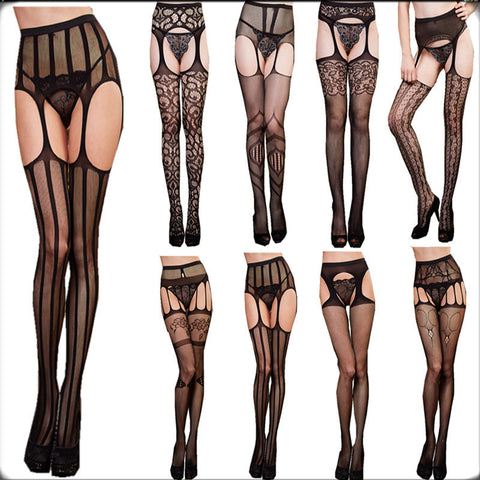 2015 sexy women mesh tight stockings Thigh High garter belt Silk Stocking solid Fishnet Pantyhose sexy fancy night club stocking