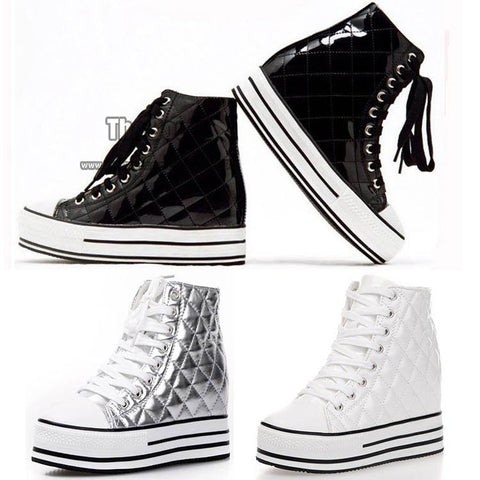 2013 Spring And Autumn Silver Black White Patent Leather Casual High Creepers Platform Flat High Top Sneakers For Women
