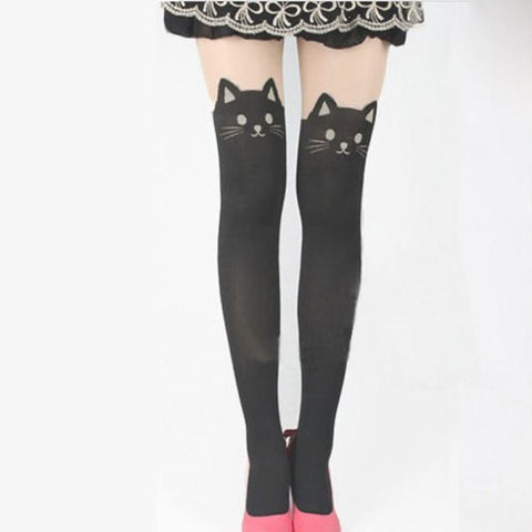 1 X Hot Sale Womens Girls Sexy Kawaii High Cat Thigh High Hosiery Over The Knee Pantyhose High Medias Stockings - ALX-SH
