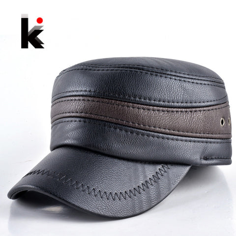 2015 Fashion mens winter warm hat military style cap with ear flaps leather russia flat top hats for men casquette Alternative Measures
