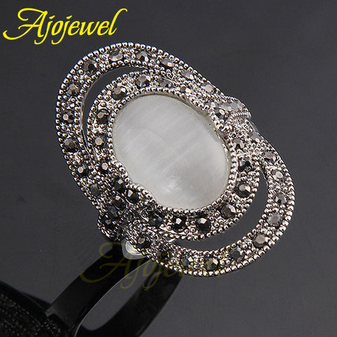 2014 New Opal jewelry 18K White Gold Plated Vintage Oval Stone Ring For Women