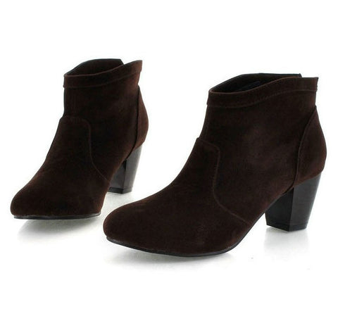 2013 Womens Ankle Boots Plus Size Thick Chunky Medium High Heel Black Brown Chestnut Suede Chelsea Booties 40 41 42 43 9 10 11