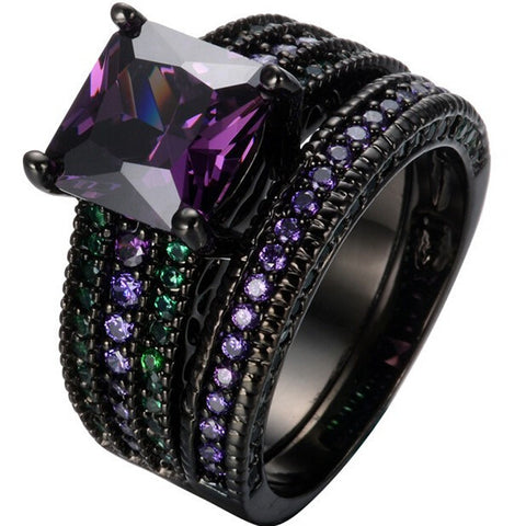 Amethyst Emerlad Square Zircon Ring Fashion Jewelry Black Gold Filled CZ Couple Rings Engagement Christmas Jewelry Alternative Measures