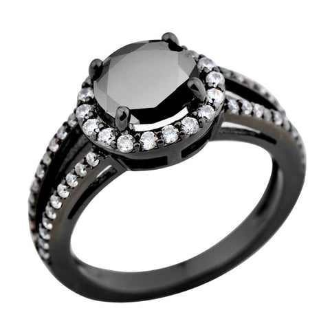 14 KT Black Gold Filled Round Zircon Women Fashion Jewelry Size 5/6/7/8/9/10 Finger Rings anillo RB0160 Alternative Measures