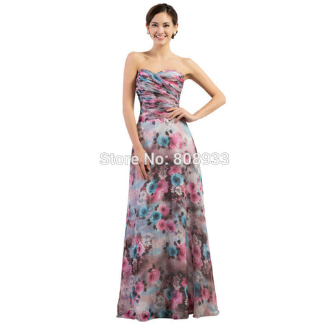 2015 Beautiful Vestidos Fashion Flower Printed Casual Party Sweetheart Prom Dress Women Summer Temperament Long Formal Dress7509
