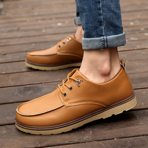 2015 korean brand new men skid rubber soles flat shoes 4 colors Lace up fashion casual leather stitching men flats