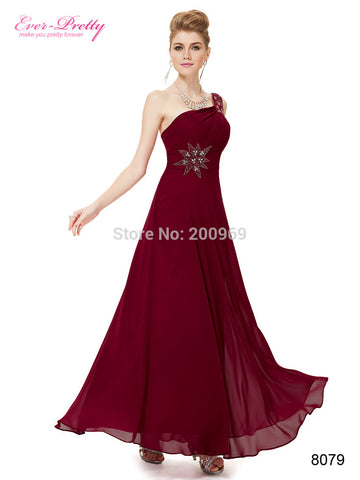08079 One Shoulder Deep Red Long Evening Dress Alternative Measures - Brides & Bridesmaids - Wedding, Bridal, Prom, Formal Gown