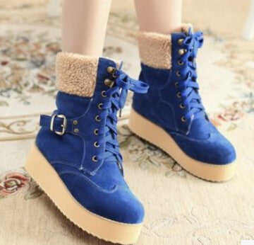 2015 women new fashion spring autumn short snow boots wedges platform thick shoes scrub casual large plus size 40-43
