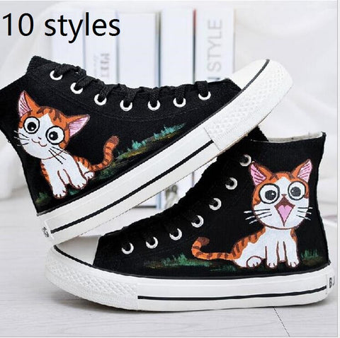 10 styles sizes 35-43 Men Women Hand Painted Canvas Shoes High Top Style Figure Kitty pattern Design Boys Girls Graffiti Shoes