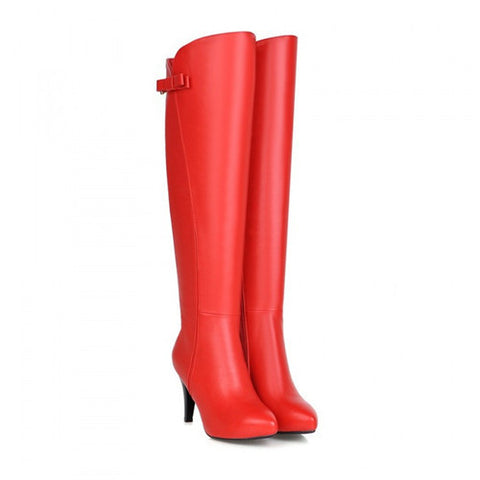 2015 korean grace sweet pointy toe thin high heels over the knee boots fashion thigh high boots leather Alternative Measures
