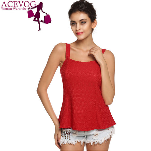 DROPKICKS STOCK ITEM: ACEVOG Brand Women Tank Top Casual Summer Sexy Sleeveless Backless Slim Lace Tank Tops T Shirts White Red PLUS SIZE
