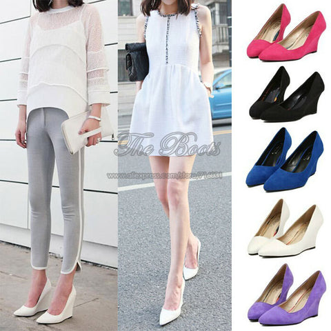 2013 Fashion Good Quality Sexy Black White Royal Blue Suede Leather Wedges Shoes For Women Pumps Pointy Pointed Toe High Heels
