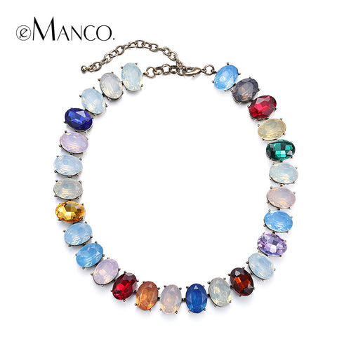 //Crystal opal choker necklaces titanium necklace// colorful crystal gold plated necklace summer jewelry women 2015 eManco