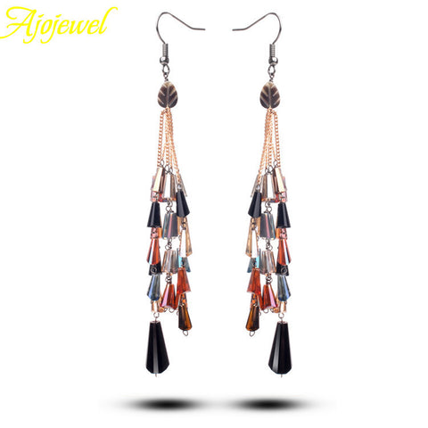 (Match Gift Box)Bohemian Women's Gold Plated Long Tassel Crystal Luxury Earrings 2014 Dress Accessories For Party