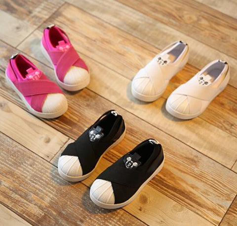 2016 Spring Child Casual Shoes Baby Canvas Shoes Elastic Strap Shell Single Sneakers Brand Mouse Pedal Moccasins