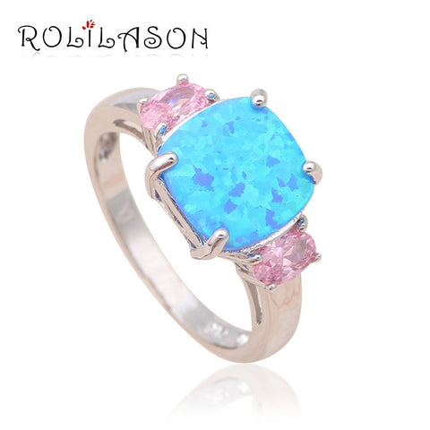 2014 NEW Huge style design Blue fire Opal 925 Silver Zirconia Rings fashion jewelry USA size #7.5 #6.5 #6.75 #7.75 OR456