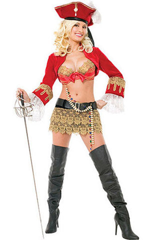 2015 Pirate Costumes,Women Plus Size Halloween Costume Set With Hat