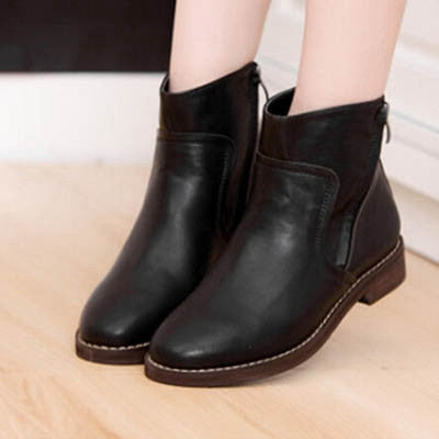 2013 Spring Vintage Womens Zip Khaki Black Leather Low Heel Ankle Boots Flat Booties