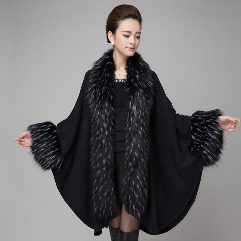 2015 autumn winter new elegant Knitted shawl cape imitation raccoon dog fur ladies cardigan fur coat