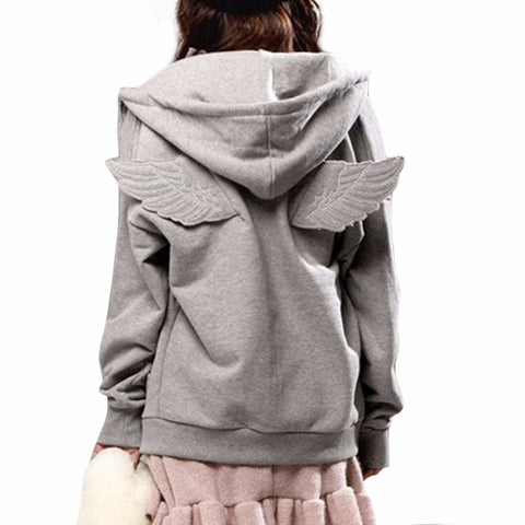 2015 New Autumn Tracksuit Women Cute 3D Angle Wings Hoodies Hooded Causal Full sleeve Fleece Cadigan Plus size M-3XL Black Gray