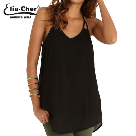 Chiffon Blouses Women Tops Elia Cher Brand 2015 Lady Summer Blouse Plus Size Causal Women Clothing Lady Tank Top Shirts