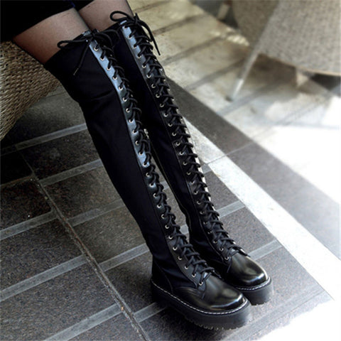 2013 Cyber Monday Sale Winter Punk Black Thick Sole Creepers Flat Platform Over The Knee Lace Up Thigh High Boots For Women