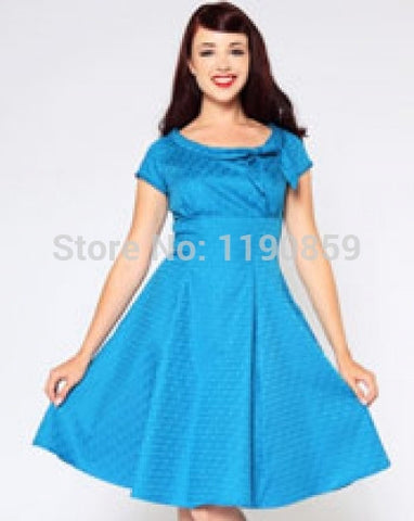 2014 rockabilly dress Swing Prom Cocktail pinup blue and black vintage dress
