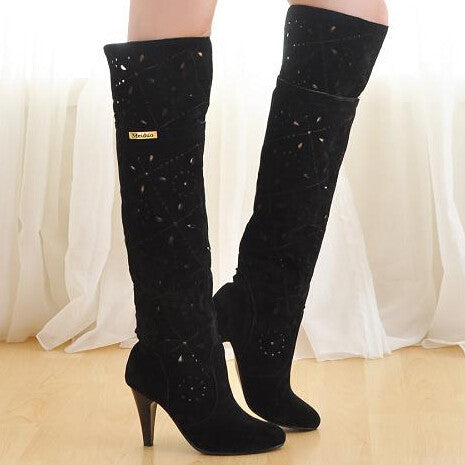 2013 Beige Tan Brown Black Cutout Boots High Heel Spring Summer Autumn Riding Boots Over The Knee High Long Leg Boots Fow Women