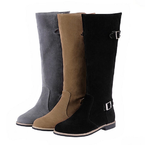 2015 Shoes Woman Fashion Brief Low-heel Boots Round Toe Buckle High-Leg Women Motorcycle Boots Black Grey Khaki Botte Femme Alternative Measures