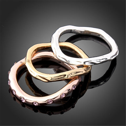 ( 3 Pieces / Set ) Fashion Crystal Rings Set Gold Silver Rose Gold Plated Full Crystal Top Quality Finger Midi Rings for Women