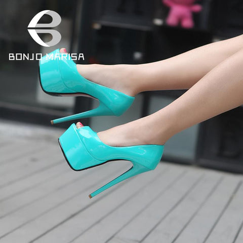 2014 New Arrivals Ultra High Heels Women Pumps Sexy Open Toe Man-made Patent Leather Stiletto Platform Party Wedding Shoes Pumps