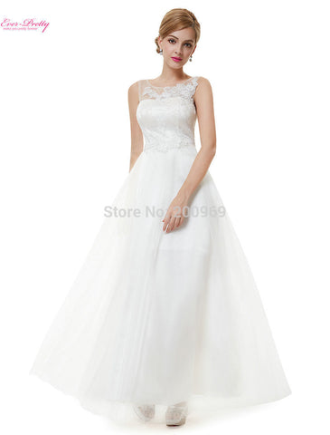 08447 Women's New Arrival Fashion White Lucency Sleeveless Long Simple Wedding Dress Vestido Alternative Measures - Brides & Bridesmaids - Wedding, Bridal, Prom, Formal Gown