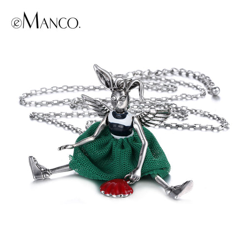 //Bunny necklace zinc alloy animal necklace// platinum plated long chain necklace new arrival 2015 creative necklace eManco