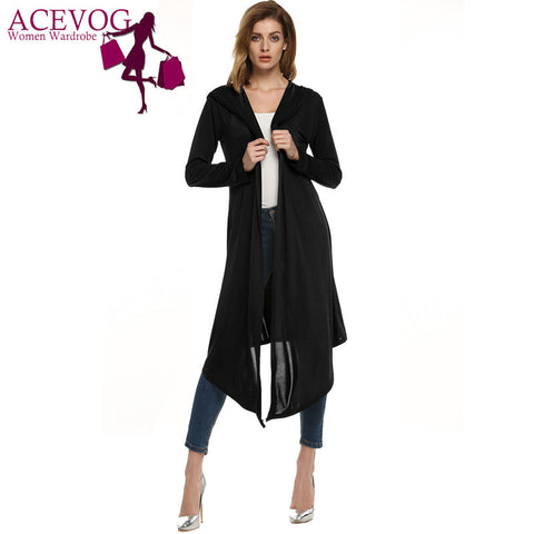ACEVOG Fashion Women Hooded Long Sleeve Spring Knitted Cardigan Calf Length Irregular Solid Thin Coat Outerwear Female XXL PLUS SIZE