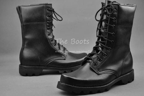 Authentic Mens Genuine Leather Zip Side Lace Up Steel Toe Combat Boots Military Boot