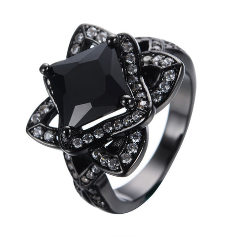 14 KT Black Gold Filled Size 5/6/7/8/9/10 Men&Women Fashion Jewelry Zircon Finger Rings anillo for Dancing Party RB0155 Alternative Measures