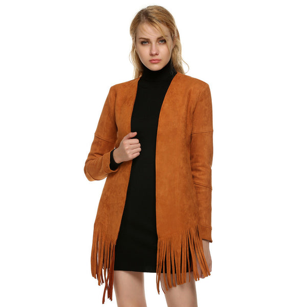 ACEVOG Brand Women Jacket Fashion Trendy Long Sleeve Autumn Faux Suede Leather Tassel Cardigan Basic Solid Casual Jackets PLUS SIZE